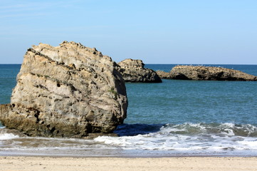 Rocks n the sea to Biarritz in South-West-France