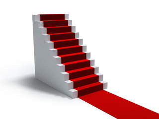stairs and red carpet on white
