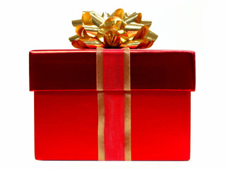Red Christmas gift box with bow