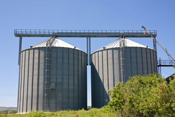 Storage silos for agricultural products, in the countyside