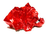 Crinkled ball of red gift wrap poster