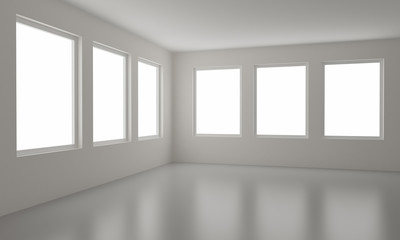 Empty room, clipping path for windows included