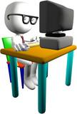 Nerd genius computer user 3D PC monitor desk poster