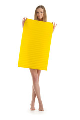 Young woman with yellow sheet of paper