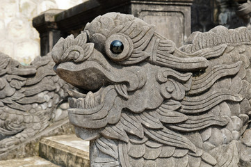 Chinese Lion stone sculpture, symbol of door guardian