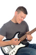 closeup of musician playing guitar