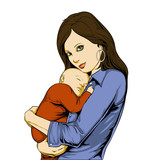 Young mother holding baby