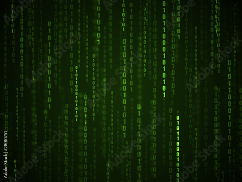 Binary language background. Green numbers on computer screen.