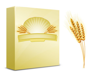 Package design. Ears of wheat and label on the box