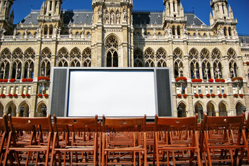 Town hall in Vienna, Austria and outdoor cinema