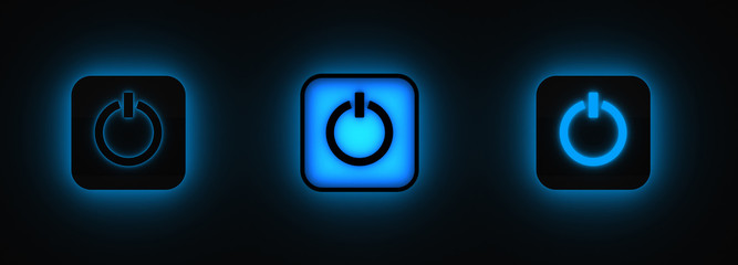 Three power buttons lighting in darkness (3D render)