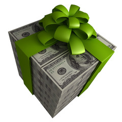 Money gift box with green ribbon isolated  3d