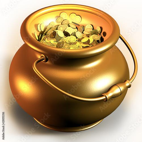 Leinwanddruck Bild Golden pot full of gold coins 3d render