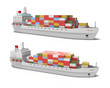 Cargo ship on white background , 3D image. - 28015571