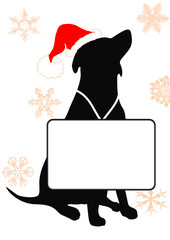 santa dog and messageboard on the snowflakes background
