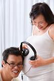 Stimulating the fetus using music poster
