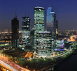 Moscow City skyscrapers at night