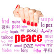 The word peace in many different languages