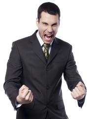 homme d'affaires énervé obsédé victorieux