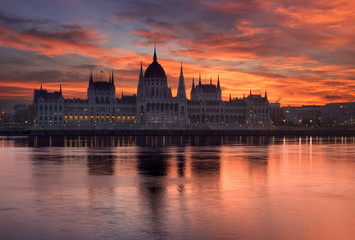 Budapest parliament building in sunrise. Hungary