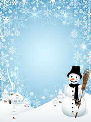 Snowman with Frame Composed of Snowflakes