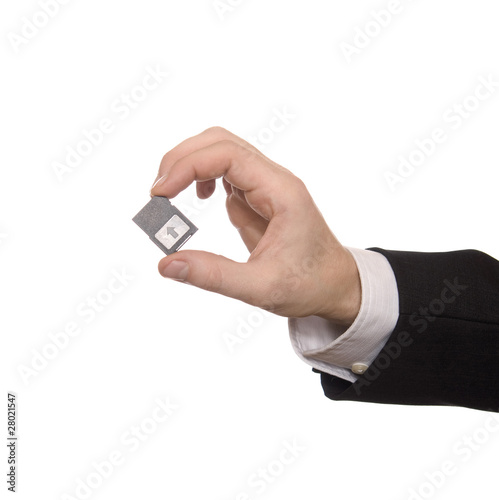 Businessman holding a Secure Digital Memory Card