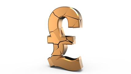 Broken gold pound symbol