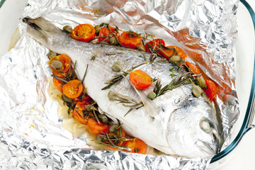 bream baked with herbs and cherry tomatoes