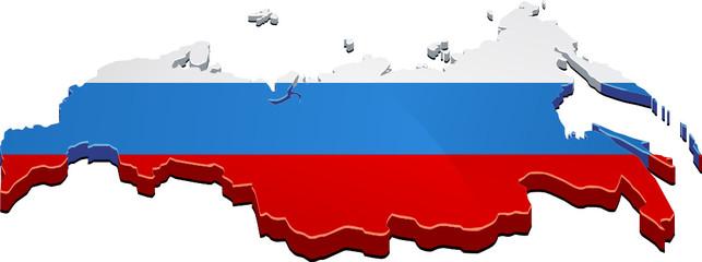 Carte de la Russie 3D drapeau (détouré)