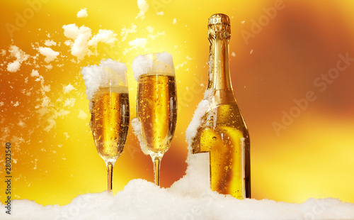 New Year champagne in the  snow