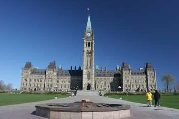 The Parliament of Canada, heroes flame in spring