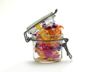 Multicolored Sweets in Glass Jar 01