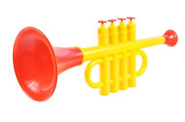Children trumpet made of colored plastic
