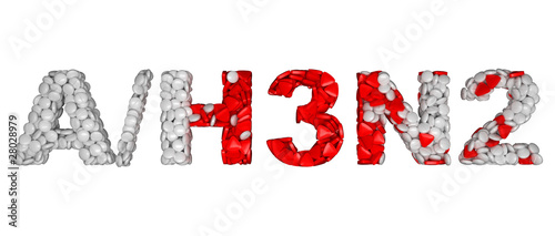 Swine Flu H3N2 epidemic - word assemled with pills