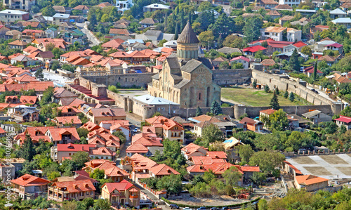 The view of Svetitskhoveli Cathedral in Mtskheta, Georgia