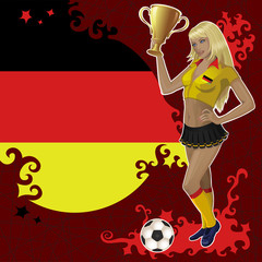 Vector football poster with girl and German  flag