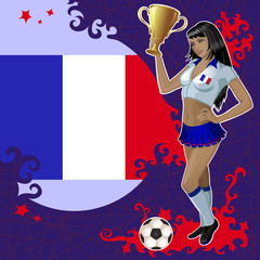 Vector football poster with girl and French flag