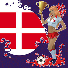 Vector football poster with girl and Danish  flag