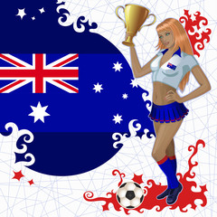 Vector football poster with girl and Australian  flag
