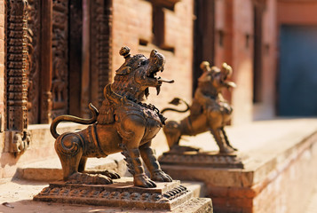 Lion monster statue, Bhaktapur, Nepal