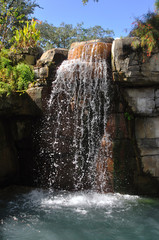 Frontal view of a beautiful waterfall