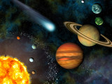 3D Solar System Wallpaper contains the Sun and nine planets.