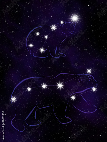 The Ursa Major and the Ursa Minor constellations.