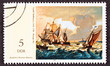 Painting Ludolf Backhuysen Bakhuizen Boat Rough Sea German Stamp