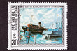Mongolian Postage Stamp Cevegshava Painting Fishing Boats Harbor