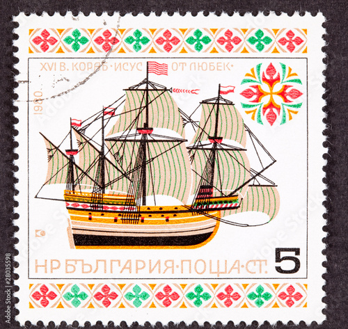 "Bulgiarian Postage Stamp ""Christ of Lubek"" First Slave Ship"