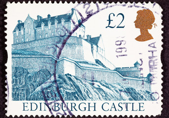 UK Postage Stamp Edinburgh Castle Scotland Hilltop Fortress Wall