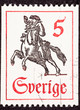 Postage Stamp Horseback Mail Delivery, Rider Blowing Postal Horn