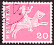 Swiss Stamp Horseback Mail Delivery, Rider Blowing Postal Horn