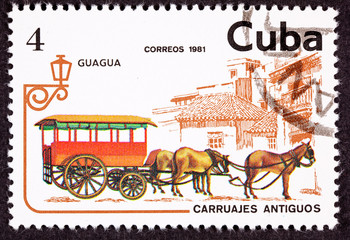 Cuban Postage Stamp Horse Team Pulling Passenger Street Car